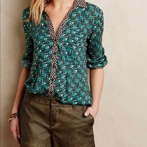 Anthropologie Maeve Casia Button Long Sleeve Top